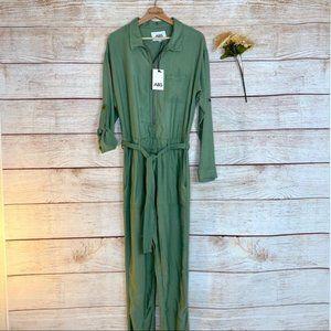 ABS Allen Schwartz Army Green Long Sleeve Jumpsuit